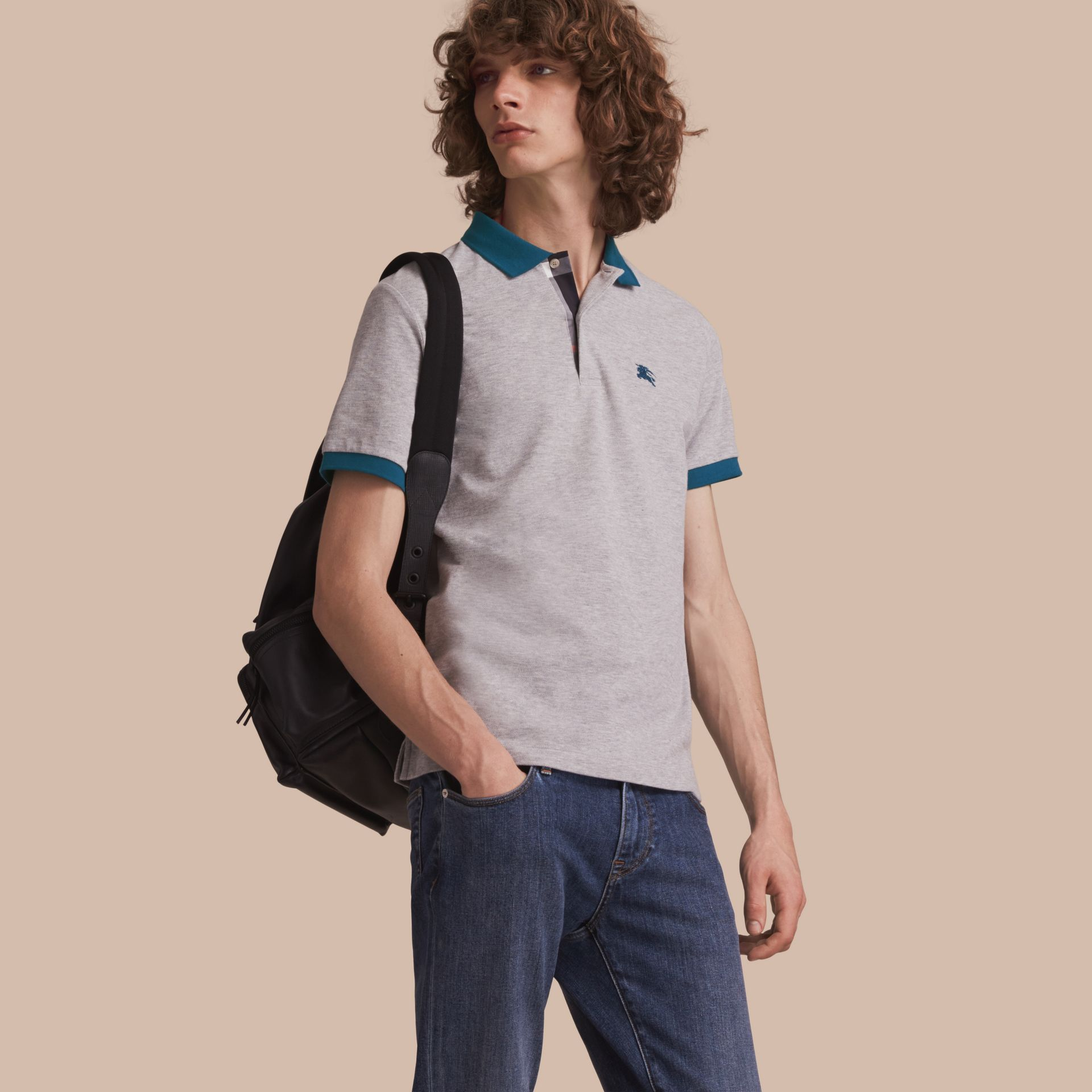 Two-tone Check Placket Cotton Piqué Polo Shirt in Pale Grey Melange - gallery image 1