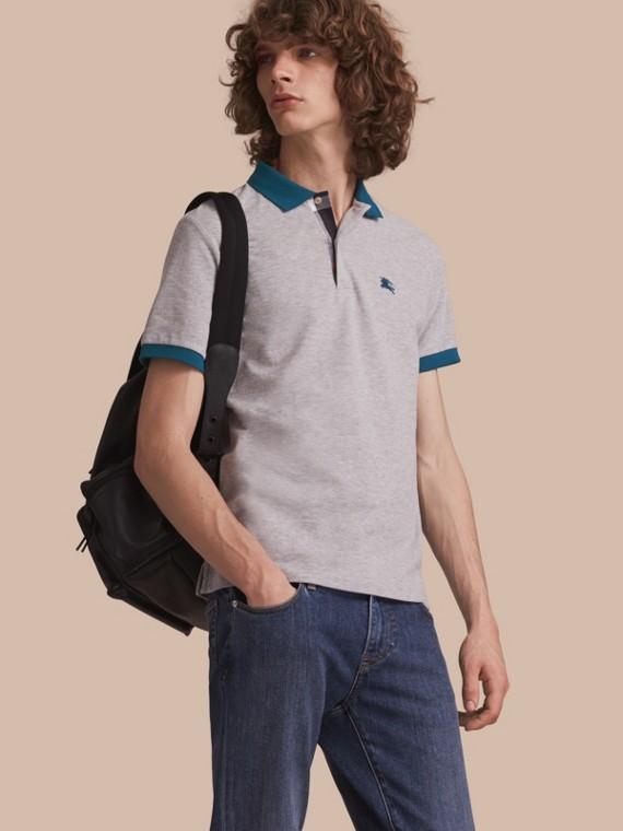 Two-tone Check Placket Cotton Piqué Polo Shirt Pale Grey Melange
