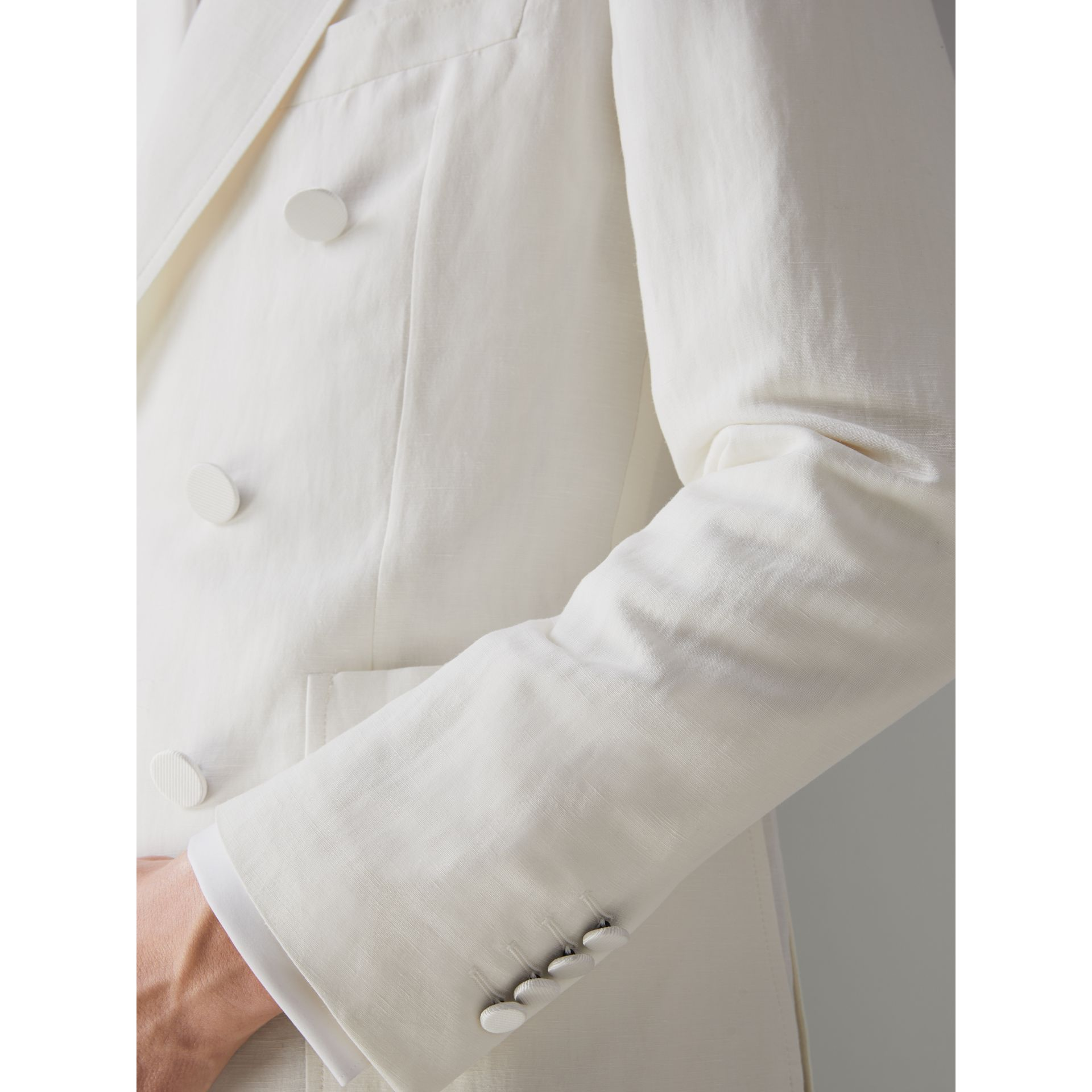 Linen Silk Double-breasted Tailored Jacket in Off White - Men | Burberry United Kingdom - gallery image 4