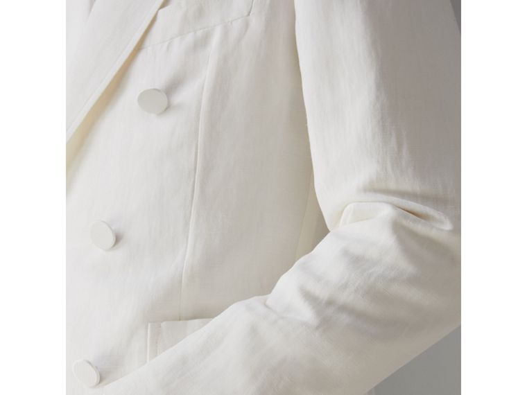 Linen Silk Double-breasted Tailored Jacket in Off White - Men | Burberry - cell image 4