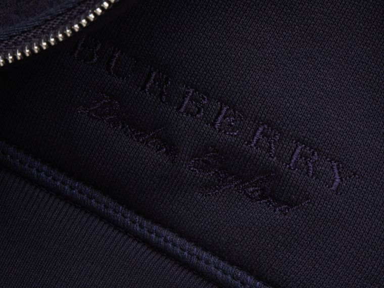 Lace Appliqué Jersey Hooded Top in Dark Navy - Men | Burberry - cell image 1