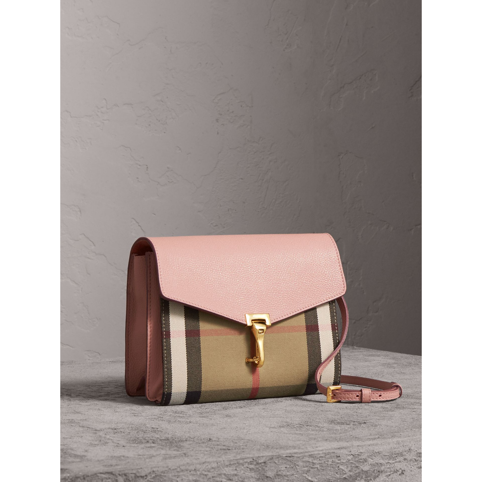 Small Leather and House Check Crossbody Bag in Pale Orchid - Women | Burberry Hong Kong - gallery image 7
