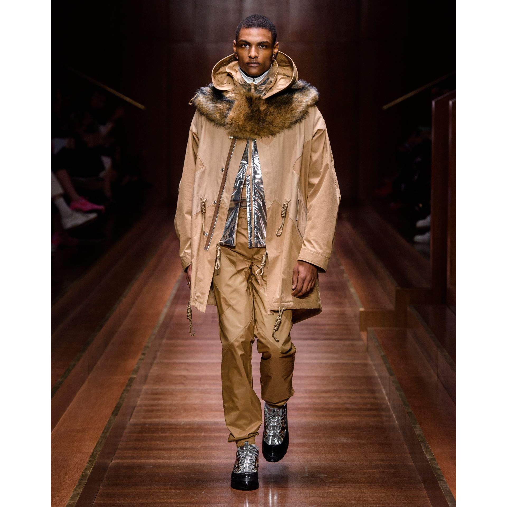 Detachable Hood Cotton Blend Parka in Warm Walnut - Men | Burberry - gallery image 6