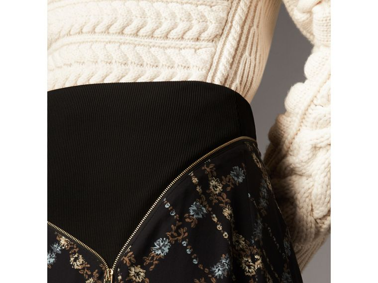 Zip Detail Floral Check Silk Skirt in Black - Women | Burberry Australia - cell image 1