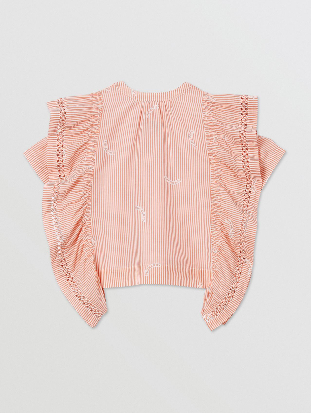 Ruffle Detail Stripe Print Cotton Silk Top in Coral Orange