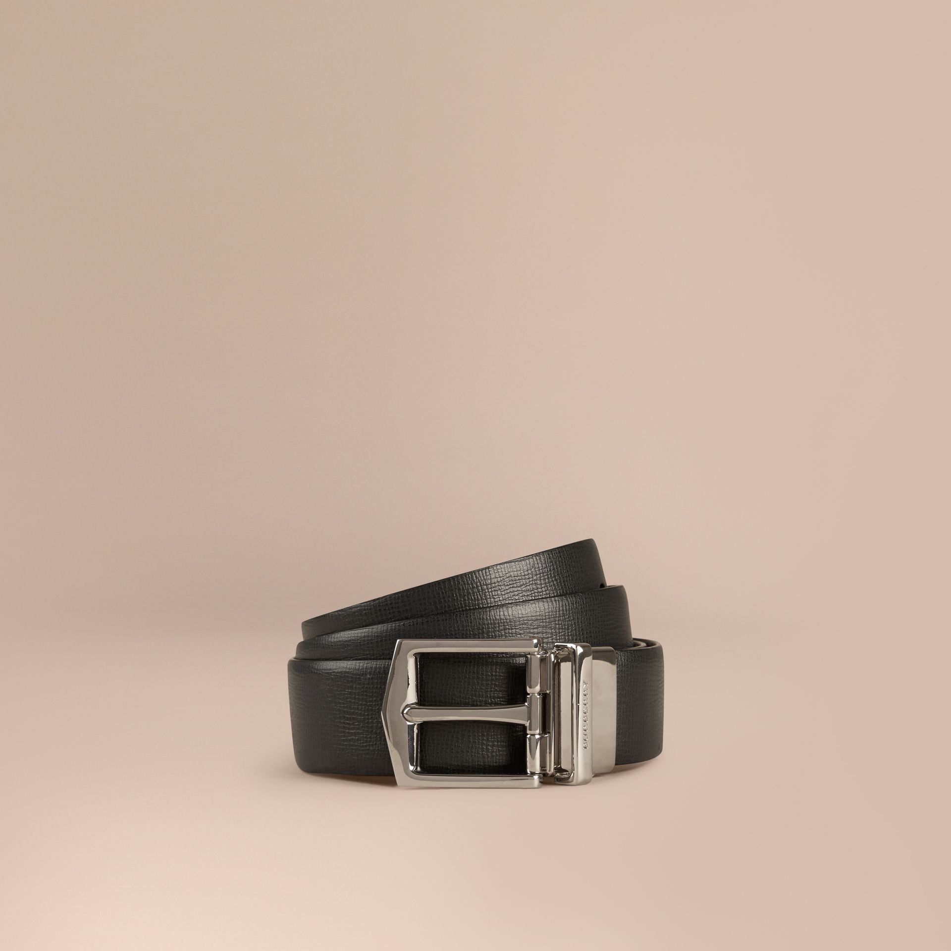 Black/chocolate Reversible London Leather Belt Black/chocolate - gallery image 1