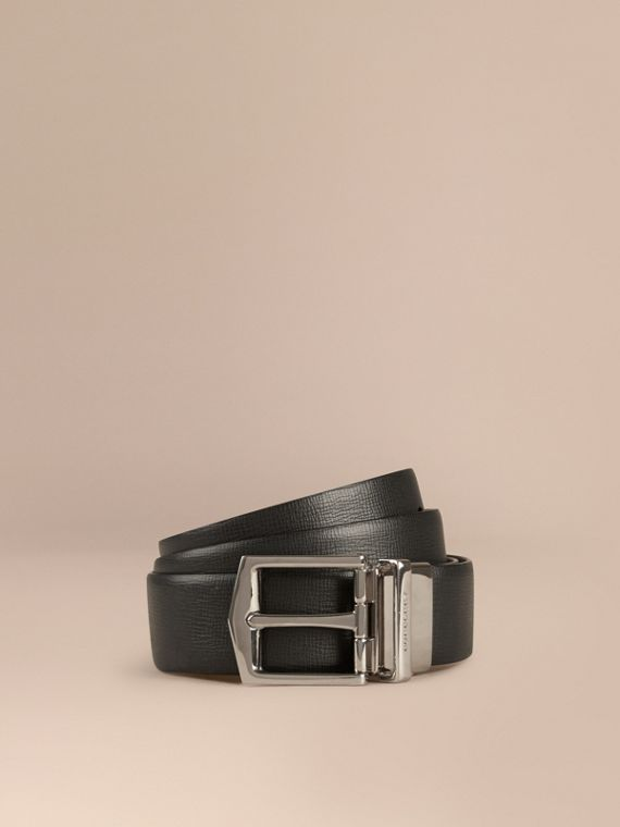 Reversible London Leather Belt in Black/chocolate - Men | Burberry