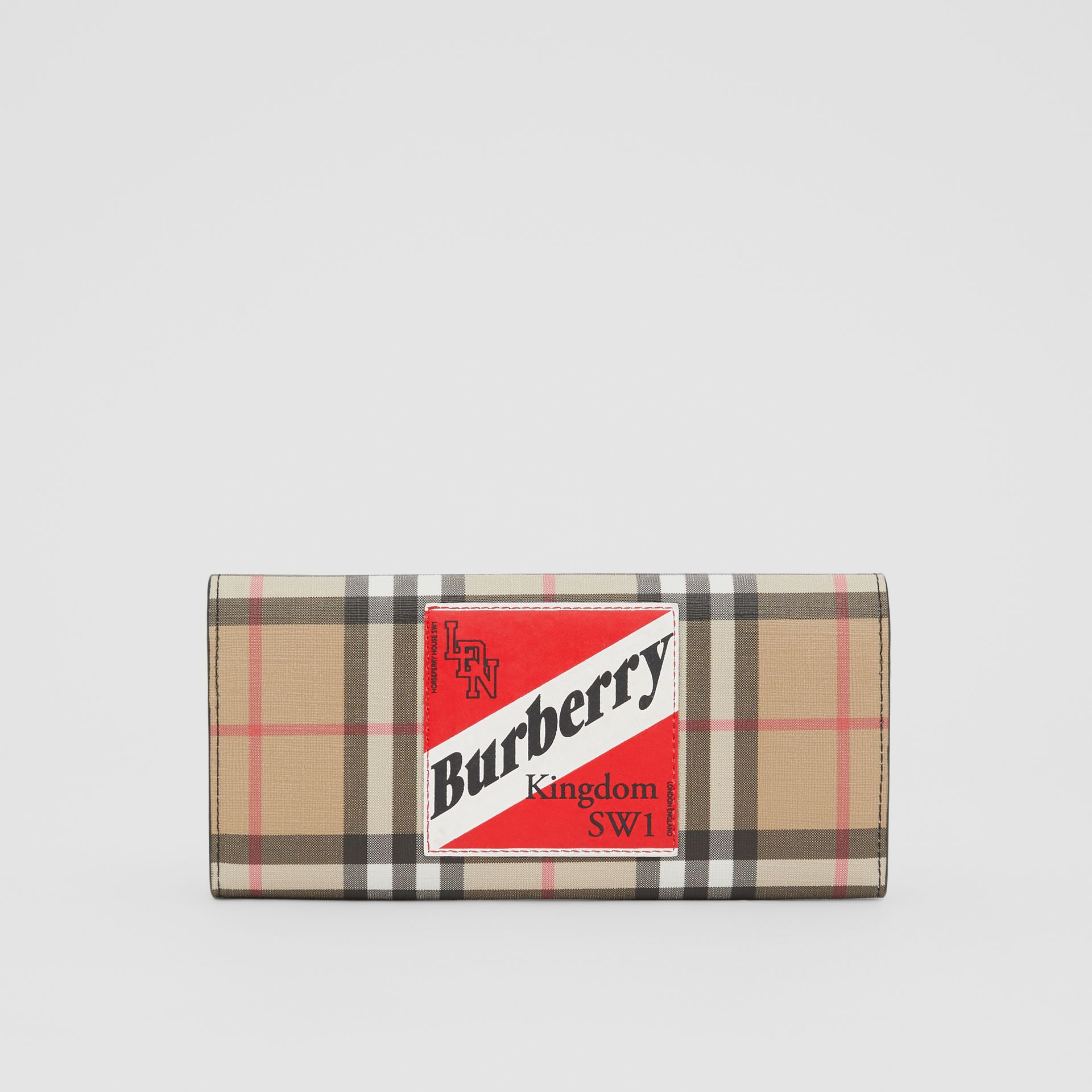 Logo Graphic Vintage Check E-canvas Continental Wallet in Archive Beige - Women | Burberry - gallery image 5