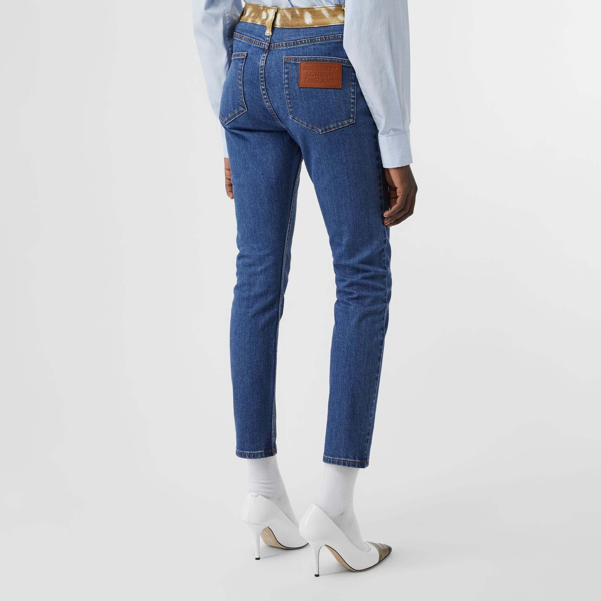 Skinny Fit Deer Print Trim Japanese Denim Jeans in Mid Blue - Women | Burberry United Kingdom - gallery image 2