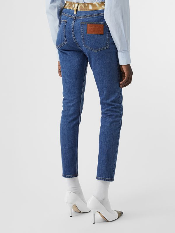Skinny Fit Deer Print Trim Japanese Denim Jeans in Mid Blue - Women | Burberry United Kingdom - cell image 2