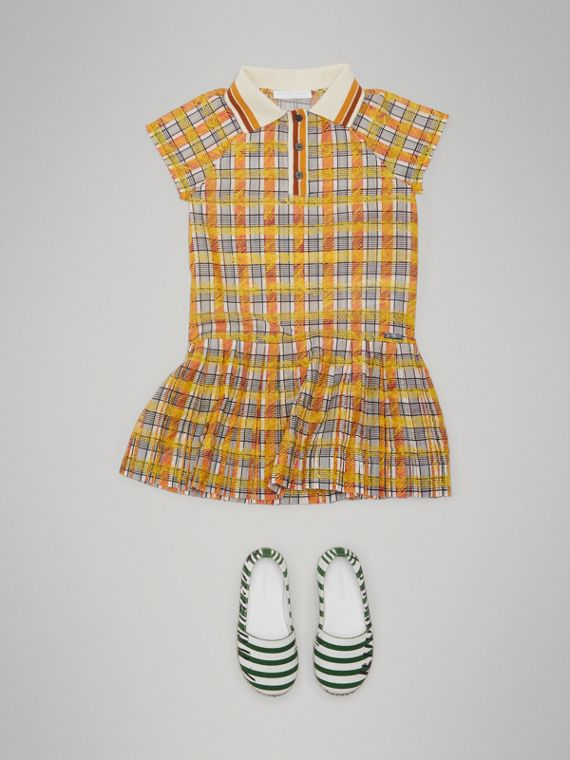 Scribble Check Collared Day Dress in Bright Yellow