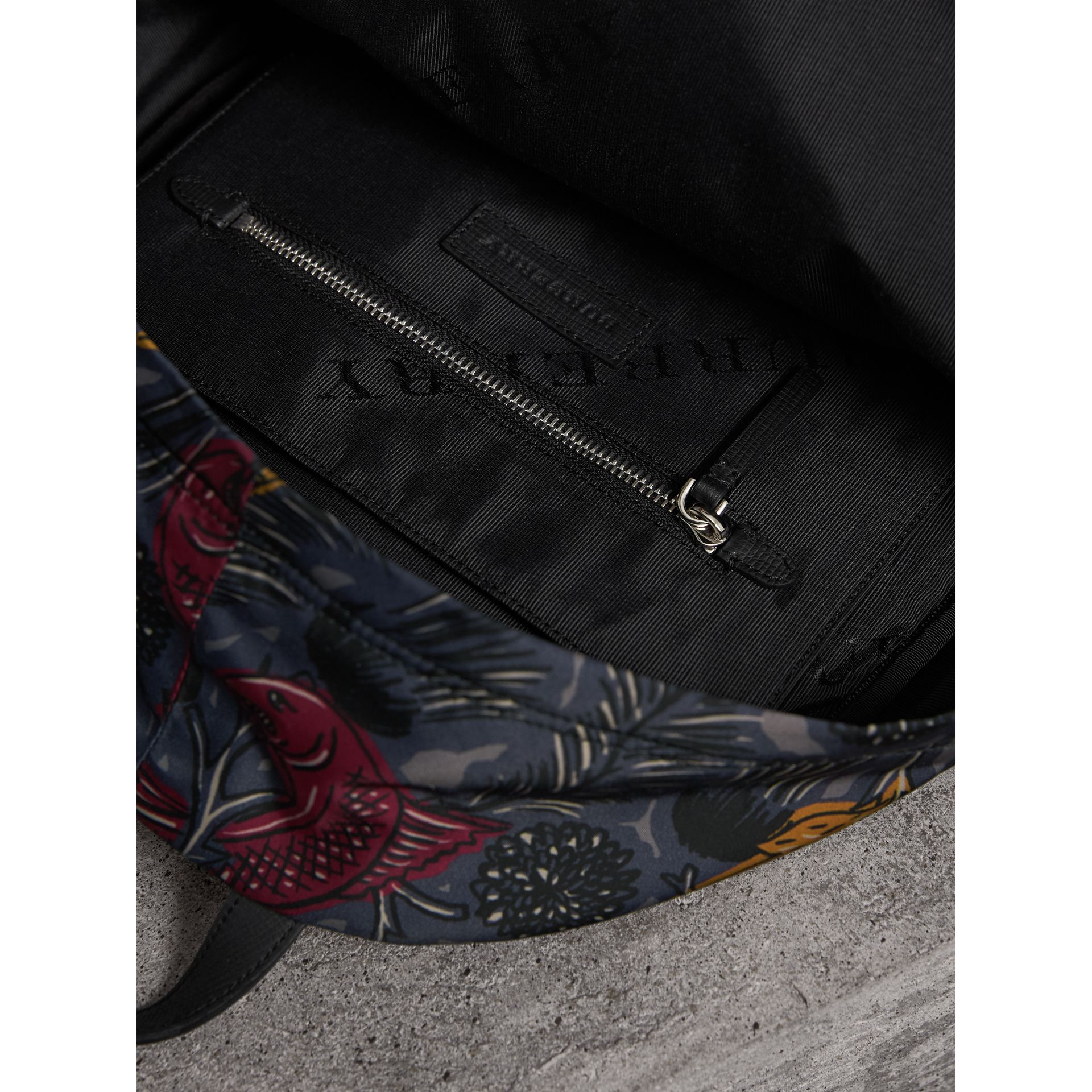 Leather Trim Beasts Print Backpack in Navy Grey - Men | Burberry - gallery image 5