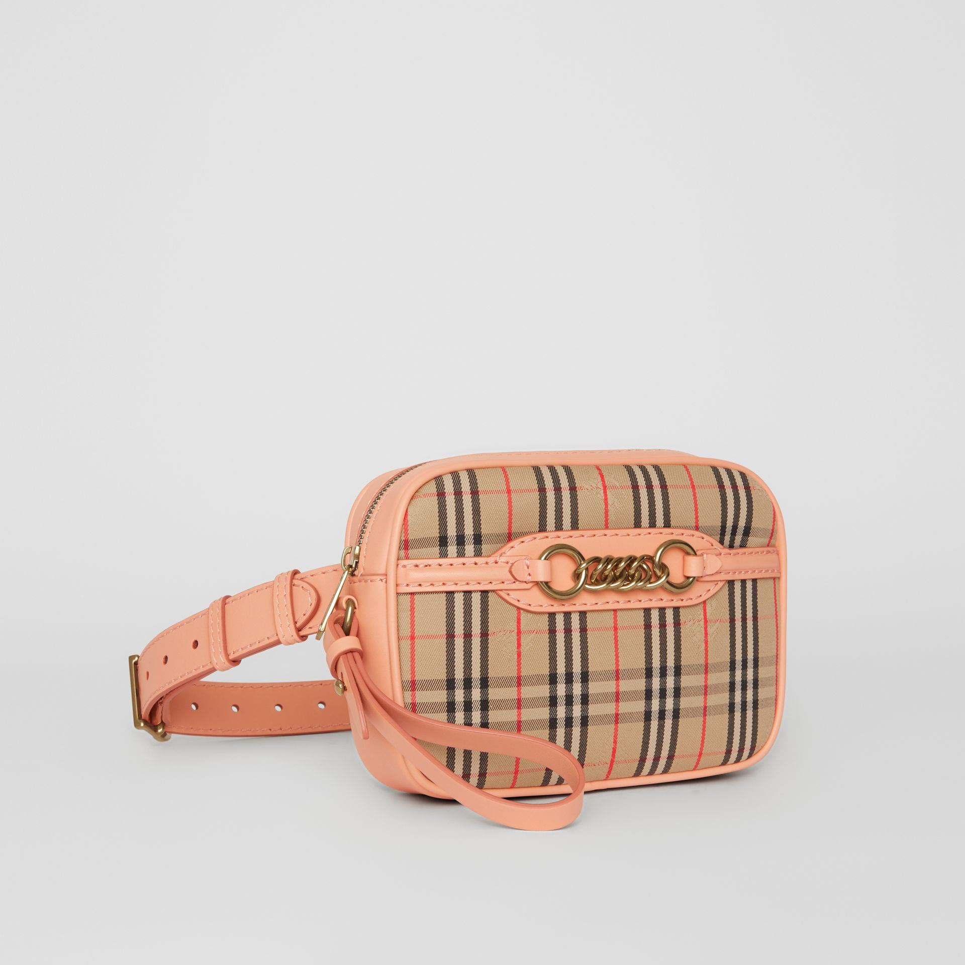 The 1983 Check Link Bum Bag with Leather Trim in Peach - Women | Burberry - gallery image 6