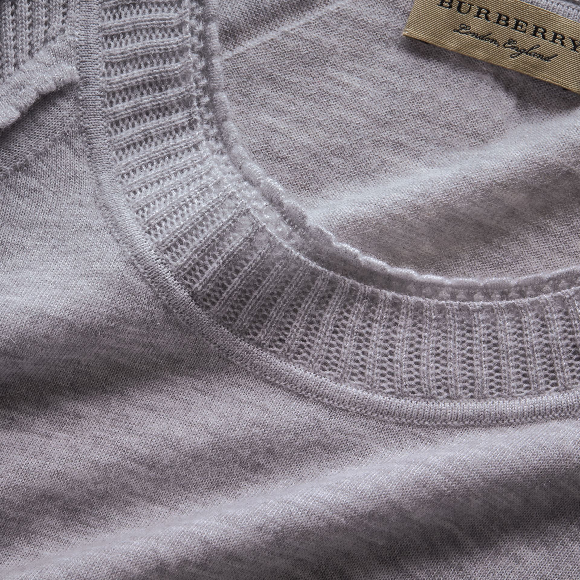 Open-knit Detail Cashmere Crew Neck Sweater in Light Grey Melange - gallery image 2