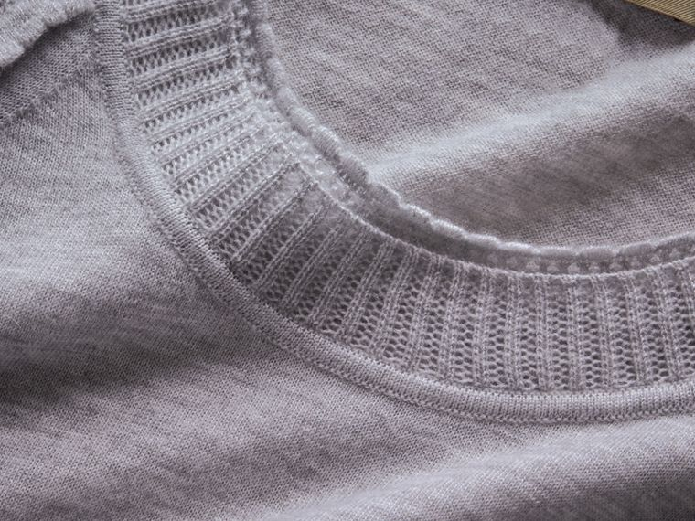 Open-knit Detail Cashmere Crew Neck Sweater in Light Grey Melange - cell image 1