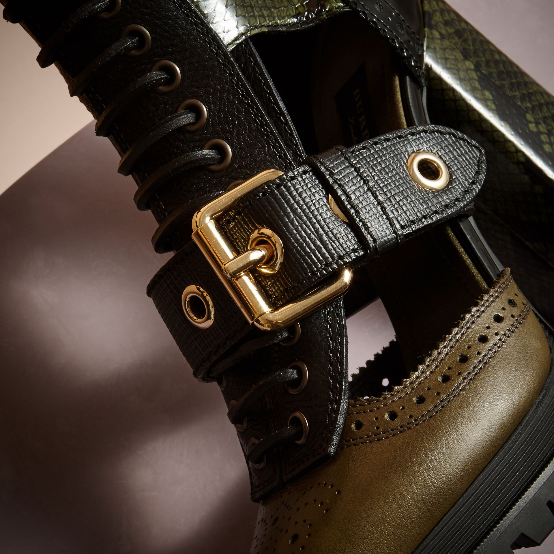 Military olive Leather and Snakeskin Cut-out Platform Boots Military Olive - gallery image 2