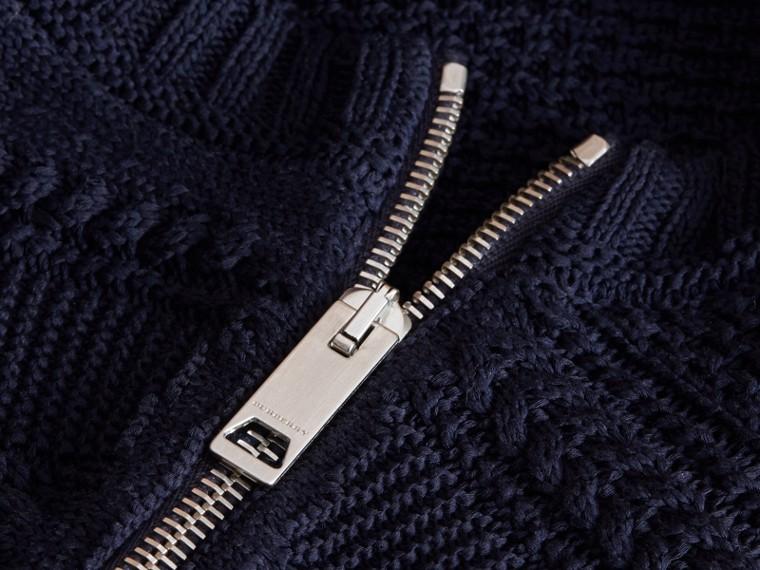 Zip Detail Aran Knit Cotton Sweater - cell image 1