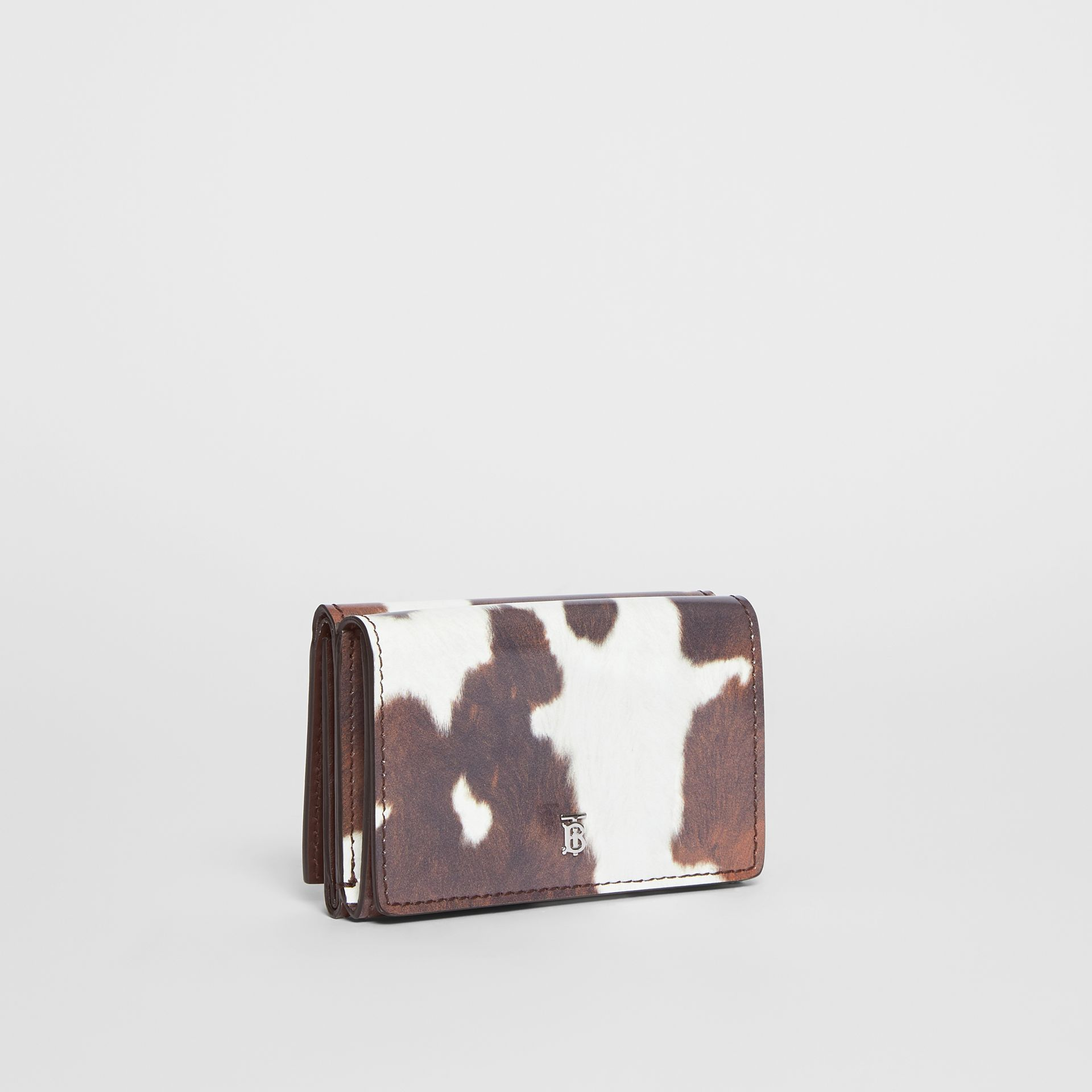 Small Cow Print Leather Folding Wallet in Malt Brown - Women | Burberry United Kingdom - gallery image 3