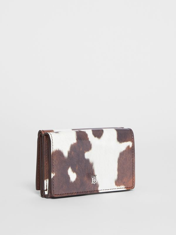 Small Cow Print Leather Folding Wallet in Malt Brown - Women | Burberry Canada - cell image 3