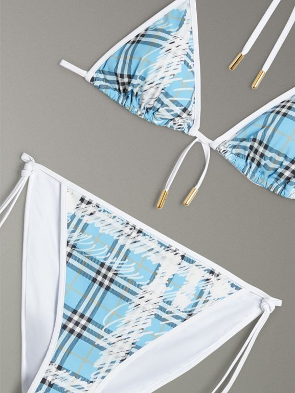 Scribble Check Triangle Bikini in Light Azure - Women | Burberry - cell image 1