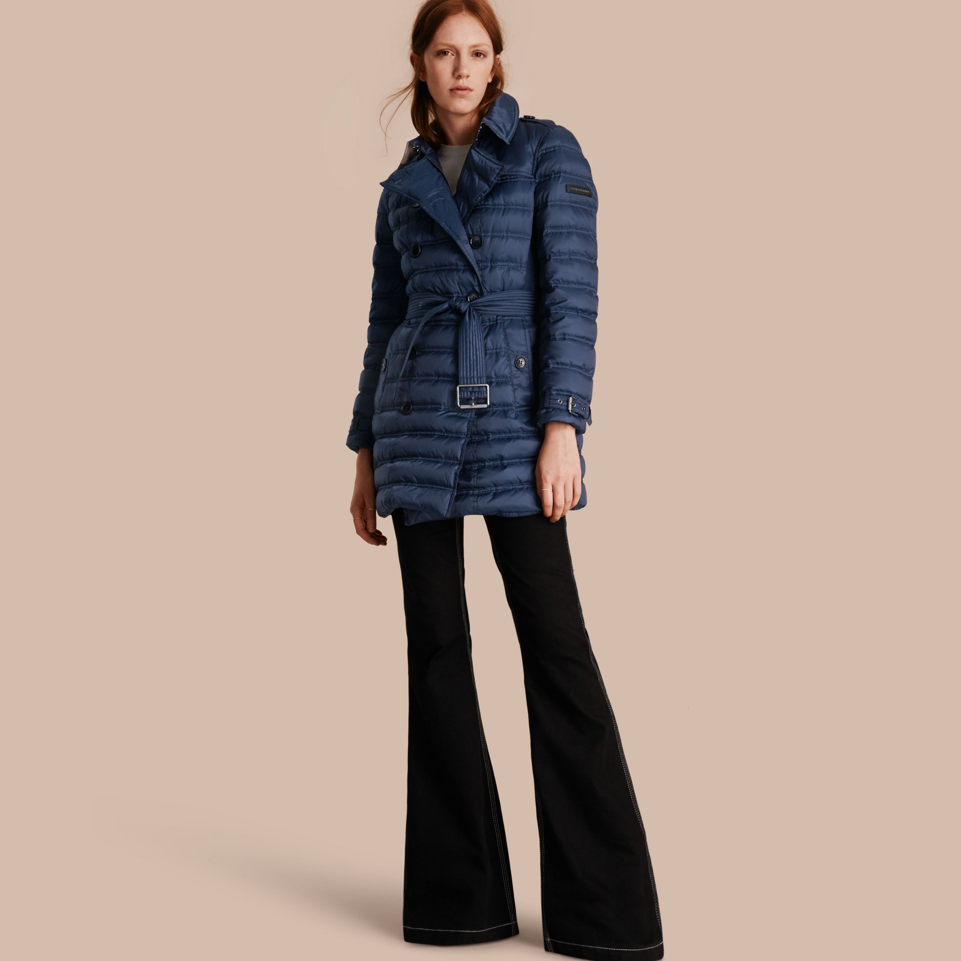 Down-filled Puffer Coat in Bright Navy - gallery image 1