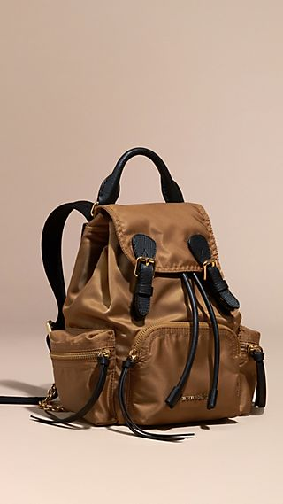The Small Rucksack in Technical Nylon and Leather Light Flax