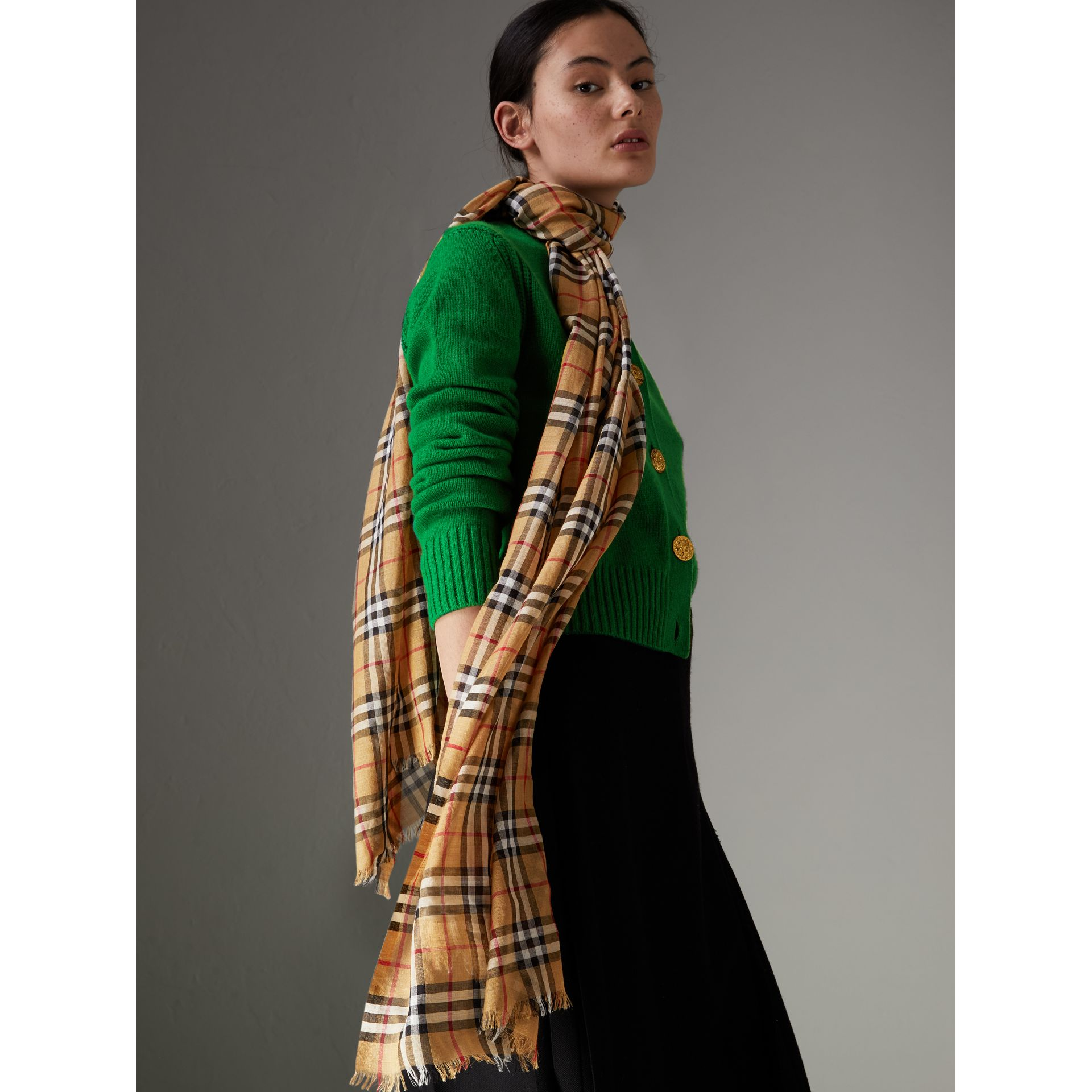 Vintage Check Lightweight Wool Silk Scarf in Antique Yellow | Burberry Hong Kong - gallery image 4