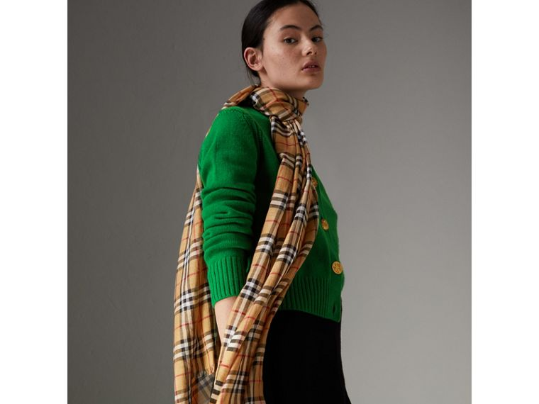 Vintage Check Lightweight Wool Silk Scarf in Antique Yellow | Burberry - cell image 4