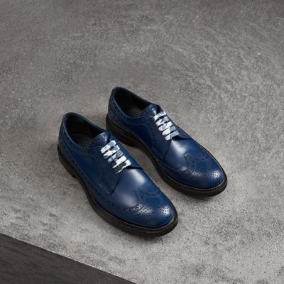 Leather Brogues With Painted Laces in Blue