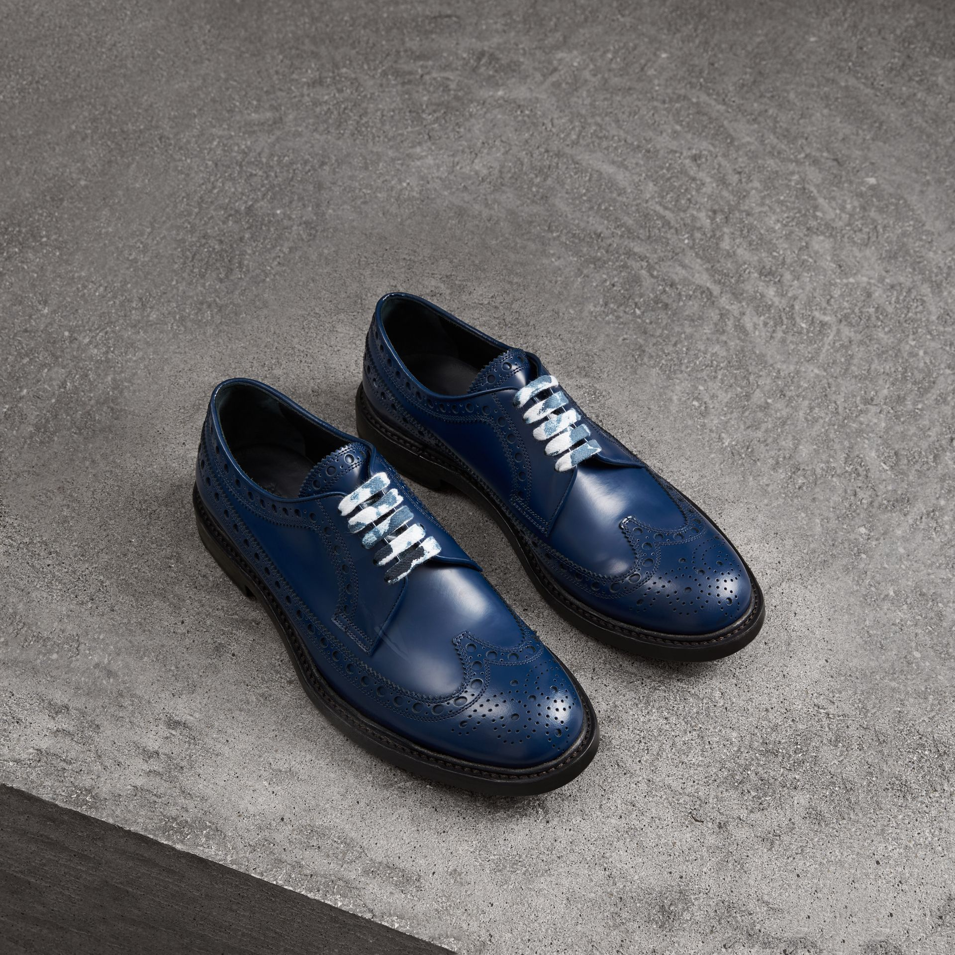 Leather Brogues with Painted Laces in Navy - Men | Burberry - gallery image 0