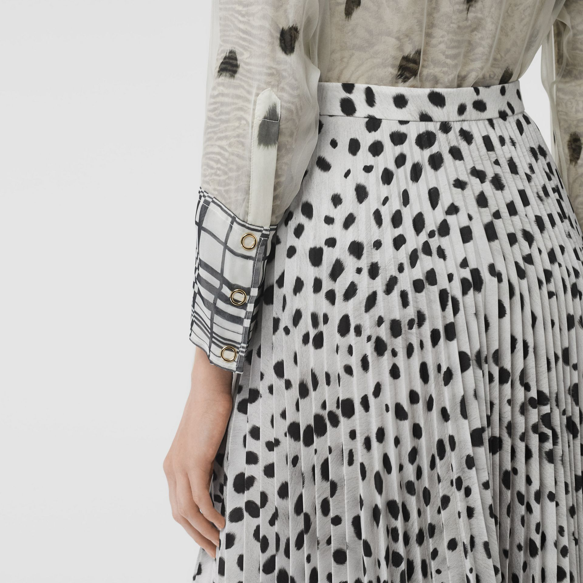 Dalmatian Print Crepe Pleated Skirt in Black/white - Women | Burberry - gallery image 6