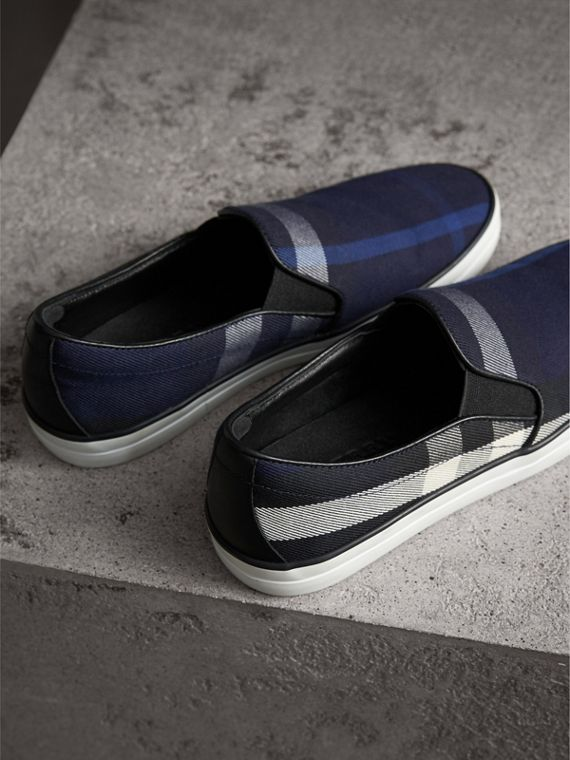 Overdyed House Check Cotton Slip-on Trainers in Indigo Blue - Women | Burberry - cell image 3