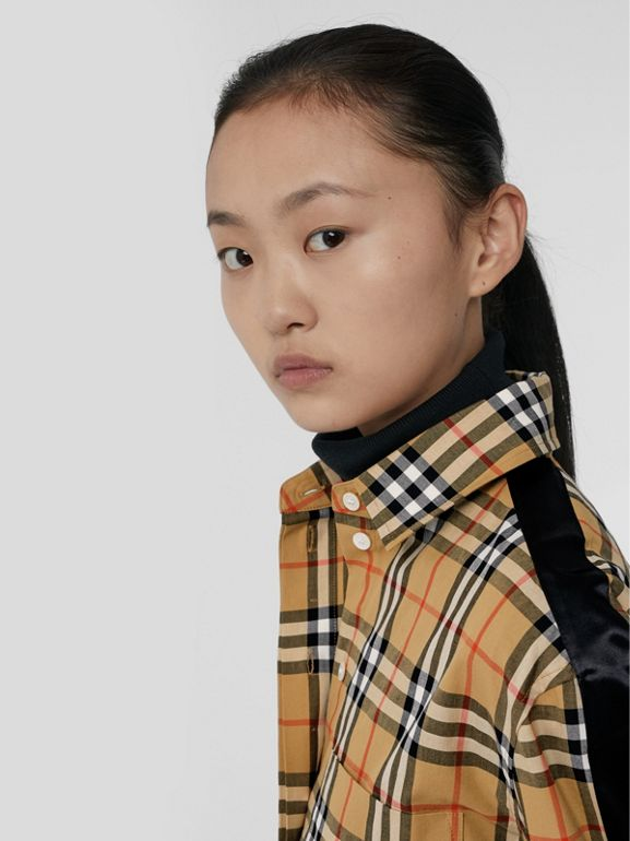 Stripe Detail Vintage Check Cotton Shirt in Antique Yellow - Women | Burberry United Kingdom - cell image 1