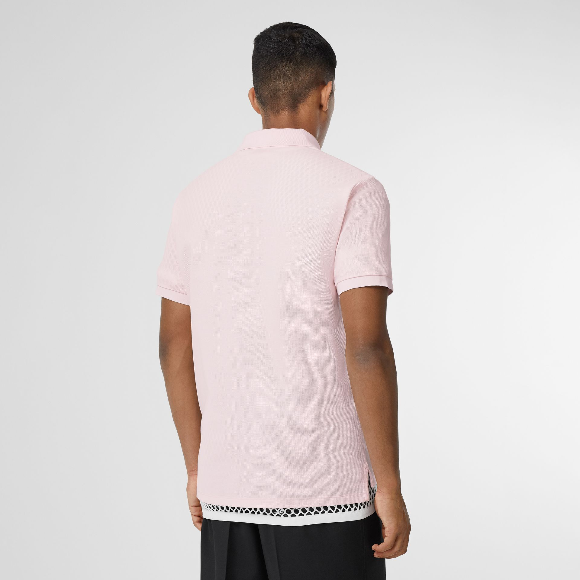 Logo Print Cotton Piqué Polo Shirt in Alabaster Pink - Men | Burberry - gallery image 2