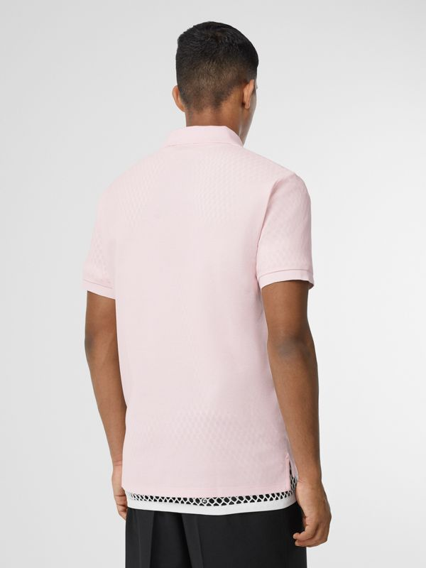 Logo Print Cotton Piqué Polo Shirt in Alabaster Pink - Men | Burberry - cell image 2