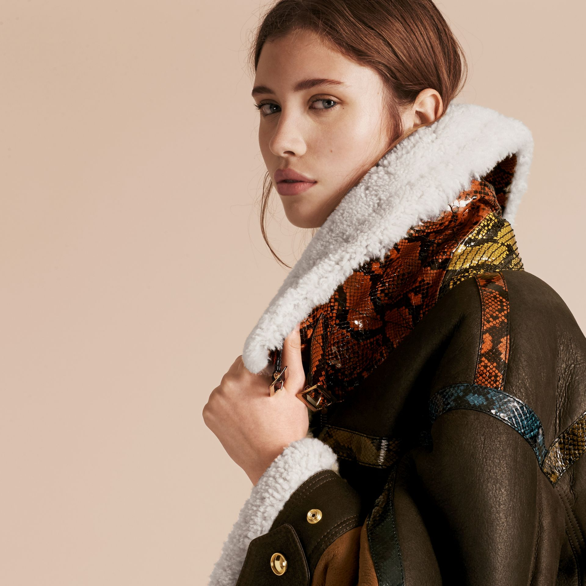 Dark brown/white Shearling Aviator with Snakeskin Panels - gallery image 5