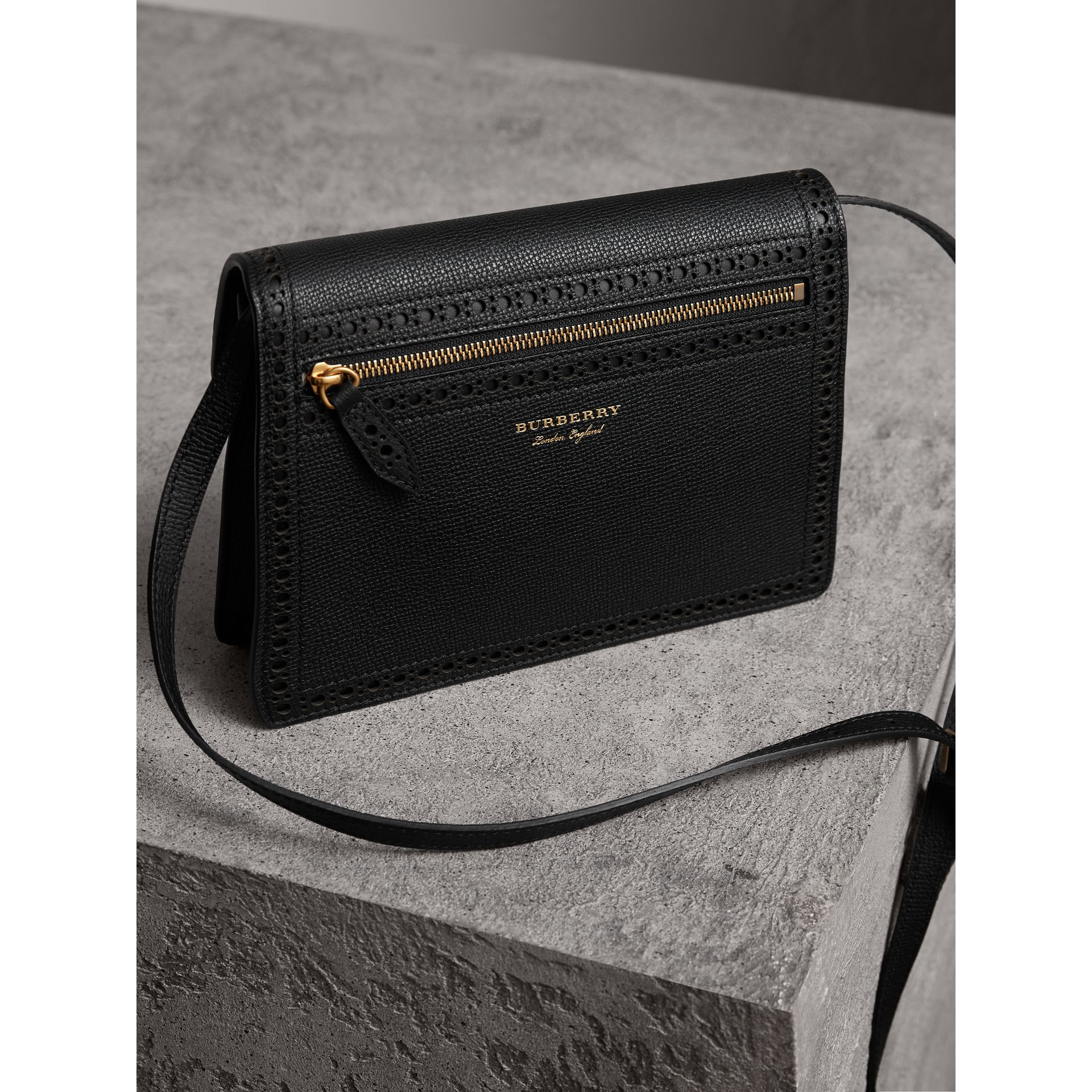 Brogue and Fringe Detail Leather Crossbody Bag in Black - Women | Burberry - gallery image 3