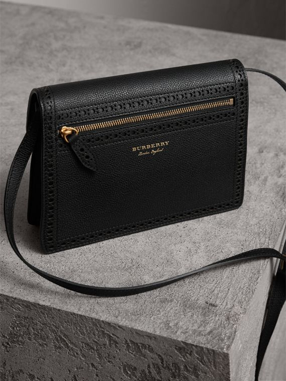 Brogue and Fringe Detail Leather Crossbody Bag in Black - Women | Burberry - cell image 3