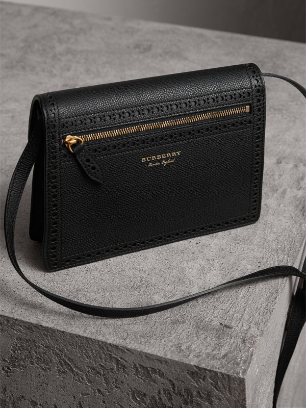 Brogue and Fringe Detail Leather Crossbody Bag in Black - Women | Burberry United Kingdom - cell image 3