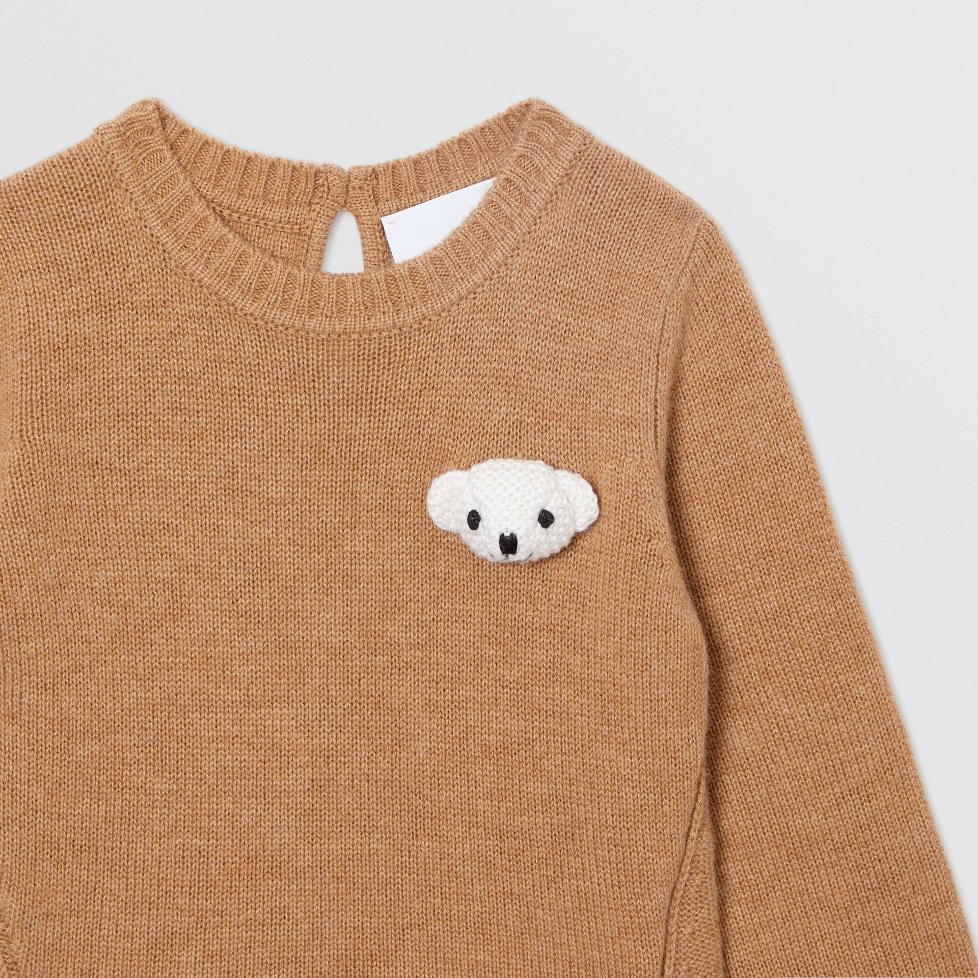 Thomas Bear Detail Wool Cashmere Sweater in Camel - Children | Burberry - gallery image 5