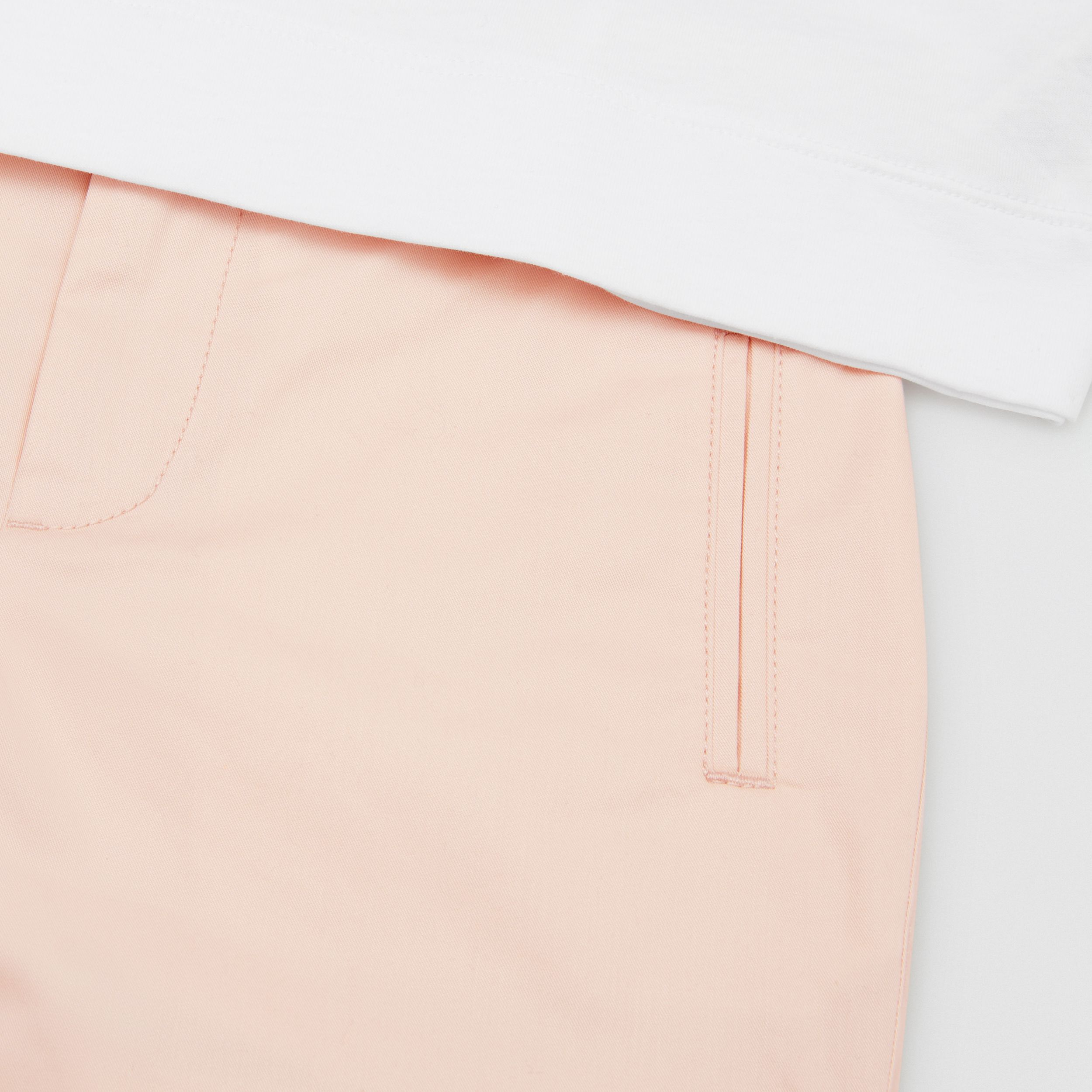 Embroidered Logo Cotton Shorts in Soft Pink | Burberry - 2