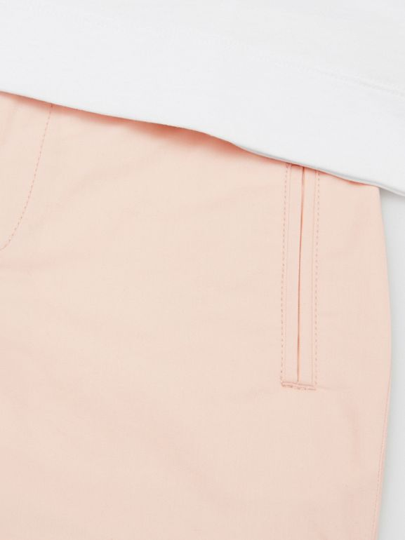 Embroidered Logo Cotton Shorts in Soft Pink   Burberry Australia - cell image 1