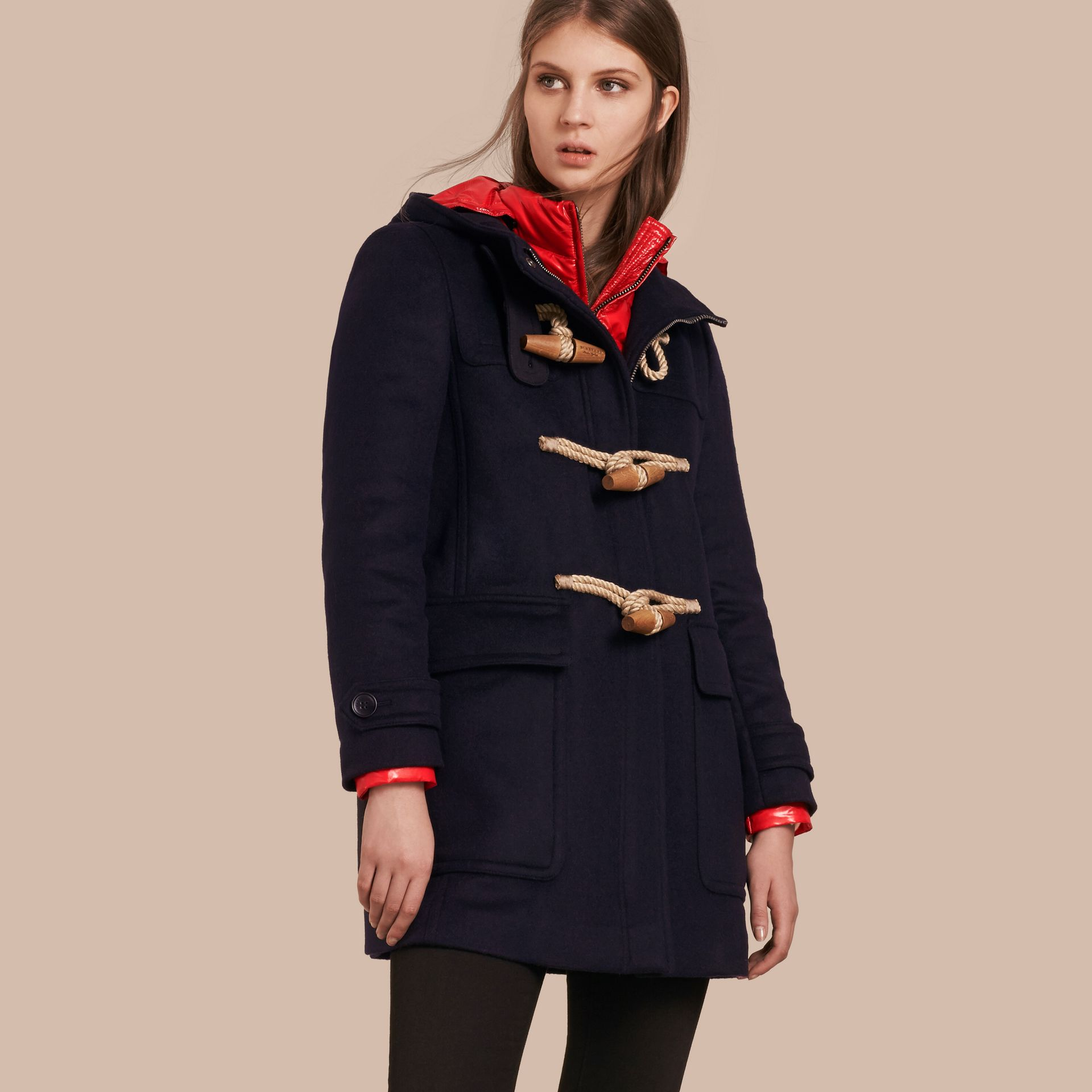 Wool Duffle Coat with Detachable Hooded Down-filled Warmer in Navy Check - gallery image 1