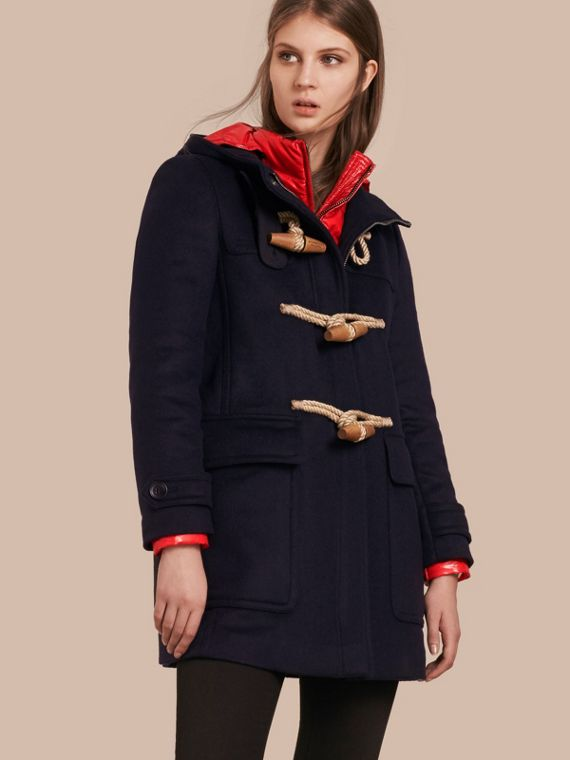 Wool Duffle Coat with Detachable Hooded Down-filled Warmer Navy Check