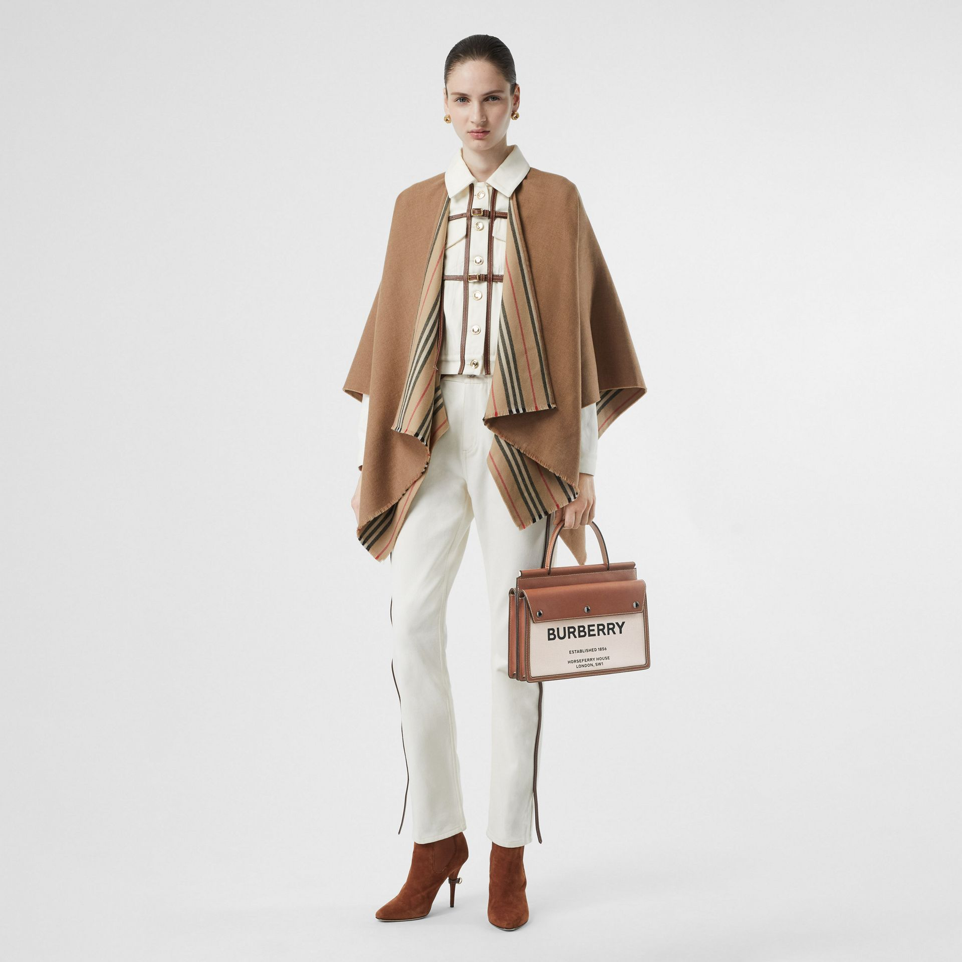 Small Horseferry Print Title Bag with Pocket Detail in Natural/malt Brown - Women | Burberry - gallery image 5