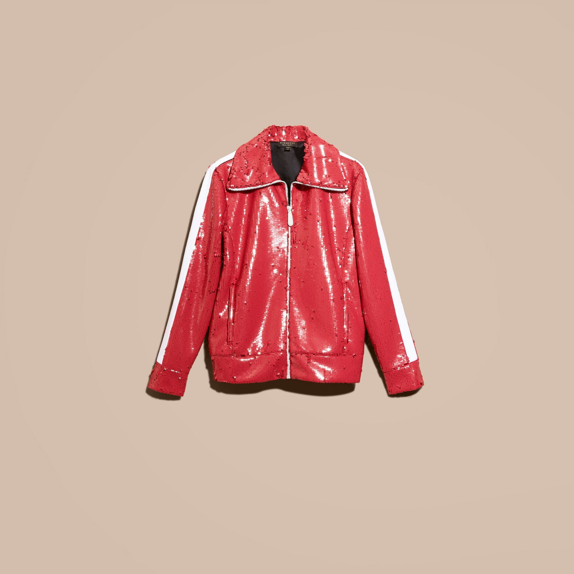 Cranberry red Sequin Track Jacket - gallery image 4