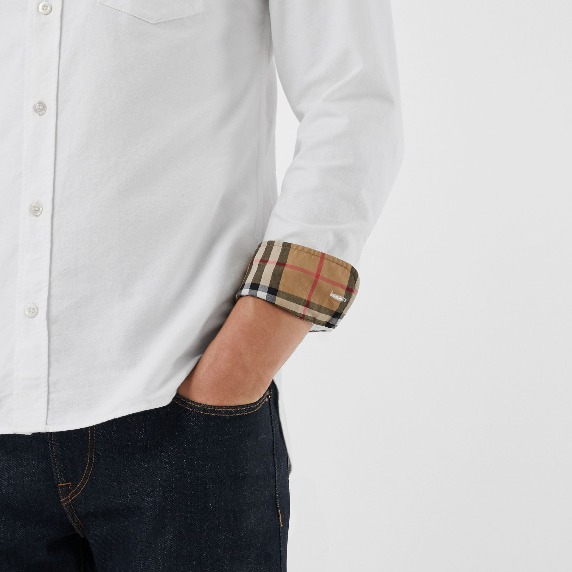 Embroidered Archive Logo Cotton Oxford Shirt in White - Men | Burberry United States - gallery image 4
