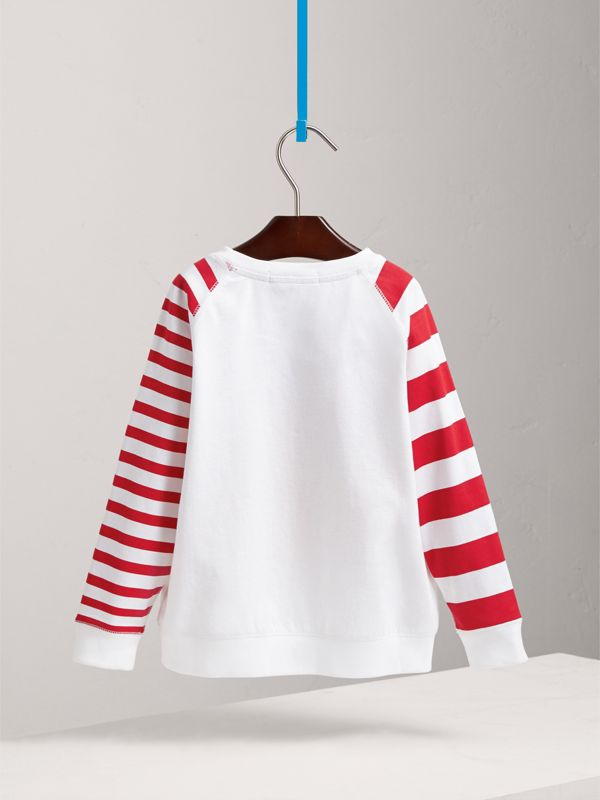 London Icons Motif Striped Cotton Top in White | Burberry - cell image 3