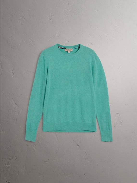 Lightweight Crew Neck Cashmere Sweater with Check Trim in Pale Jade - Men | Burberry - cell image 3