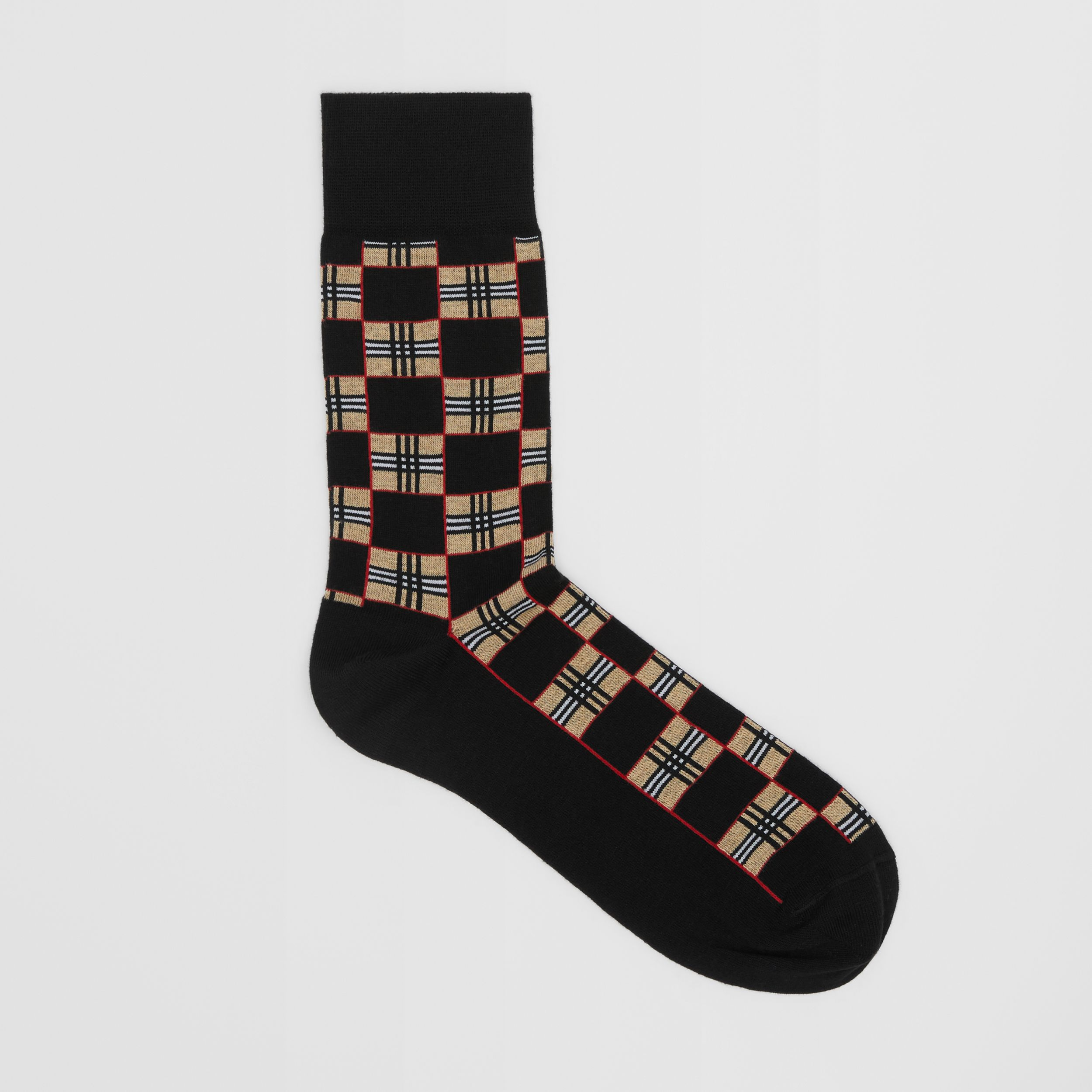 Chequer Cotton Blend Socks in Black | Burberry - 1